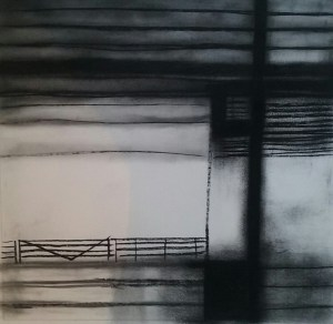 Smudgy black charcoal horizontal lines at top and bottom of a 12 inch square, with a crude line drawing of a gate and fence along the bottom third of the space.