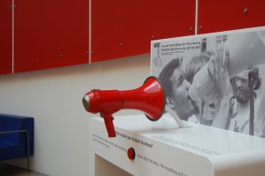 The Bullhorn station encouraged people to record their own slogan