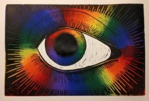 Deaf Eye, color linocut by DeVia artist David Call