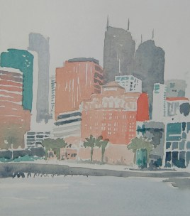 Watercolor landscape painting, square format. Pale reds, greens and grays suggest a foggy San Francisco skyline.