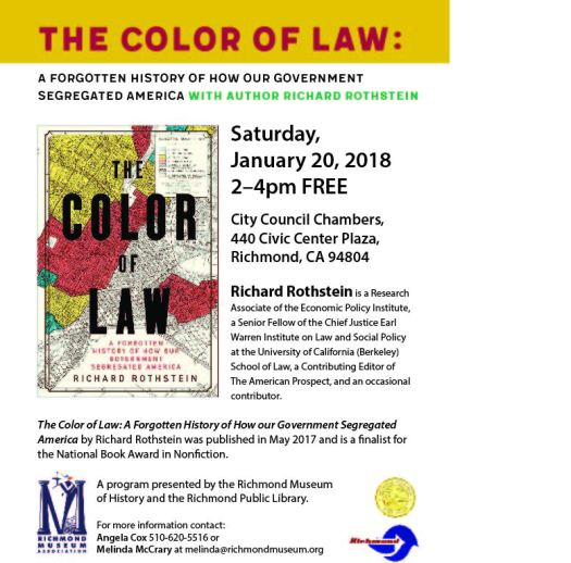 Poster for an event with author Richard Rothstein about his new book The Color of Law, at the Richmond Museum of History