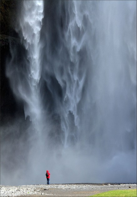 Looking up at Skogafoss waterfall, Iceland