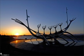Solfar - The Sun Voyager at sunset, Viking ship sculpture by Jon Gunnar Arnason, Reykjavik, Iceland