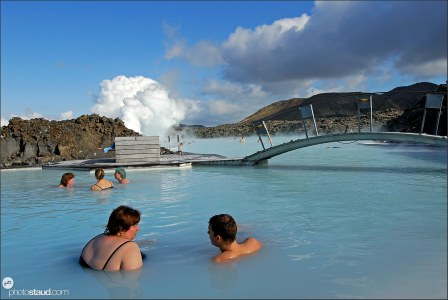 Icelanders enjoying a bath in the Blue Lagoon, Iceland