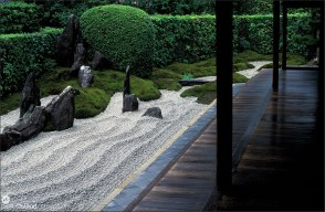 Veranda of Zuiho-in Temple with attached Zen garden, Kyoto, Japan
