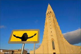Picture of Jesus Christ in front of Hallgrimurs Church – Hallgrimskirkja, Iceland