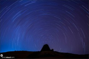 Lonely pyramid of Begarawiyah under startrails, Sudan