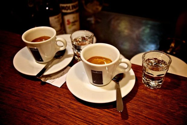 Caffè corretto, with liqueur on a side.