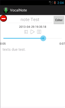 Show all the informations related to a particular note. Allows to playback the recording, to rename it and to write a small description.