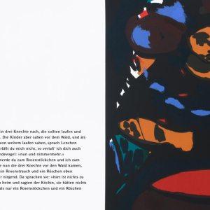 KÖCHIN   Seite aus: Fundevogel. Märchen der Gebrüder Grimm. Siebdruck, 8farbig. 40 × 30 cm. 2004