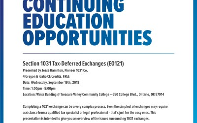 1031 Tax Exchange – CE Opportunity