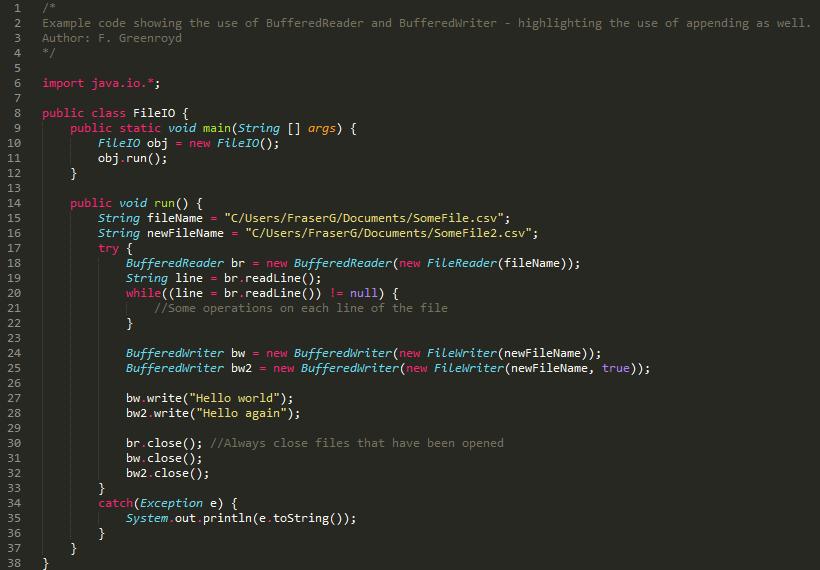 Basic File IO – Java/C#/C++ examples