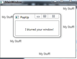 An example of a main window being blurred