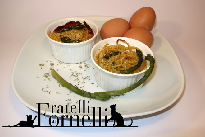Spaghetti nests with asparagus and eggs