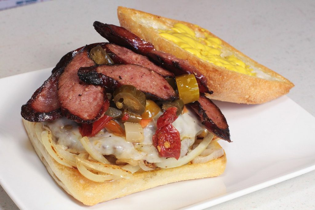 Ditka Burger made with Frato's Bacon & Beef Burger Patties