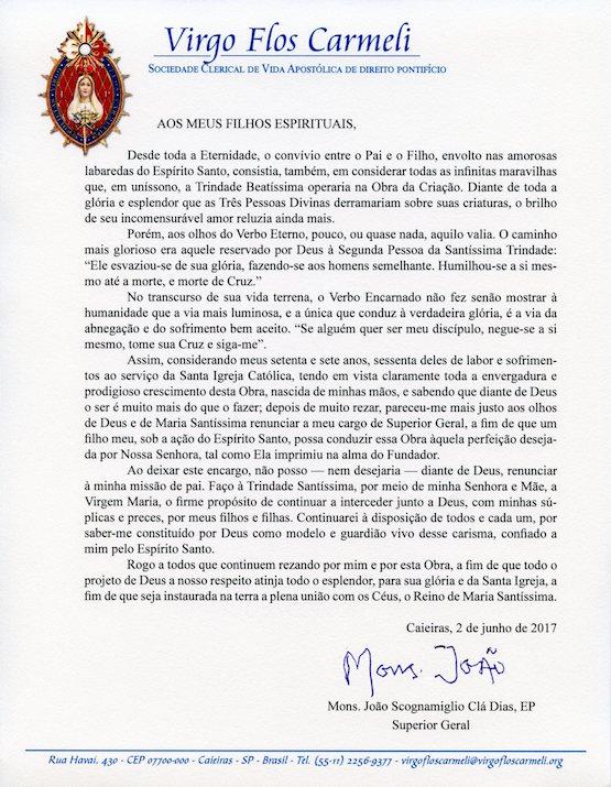 Mons Joo Cl renuncia a posto de Superior Geral dos