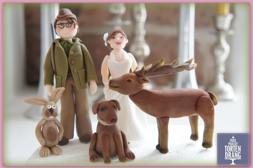 JgerHochzeit  Figuren Waldtiere aus Modellierfondant