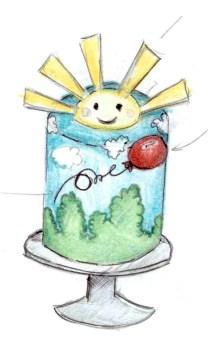 Skizze Sonnenschein Torte