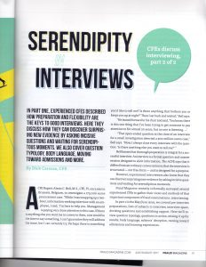 Fraud Magazine Article pg 19 (July-August 2017) Serendipity in Interviews