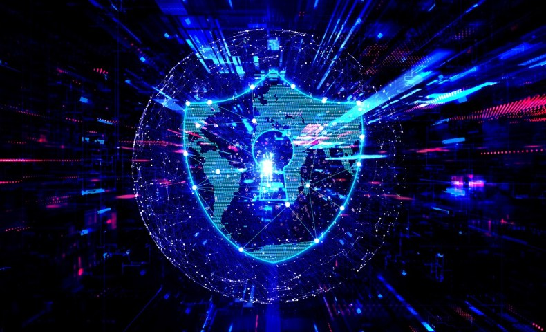 Cybersecurity Concept with Virtual Padlock on Abstract Background