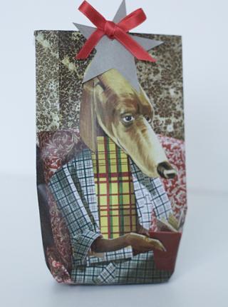 Geschenktüte Zeitschrift Hund Frau Fadegrad