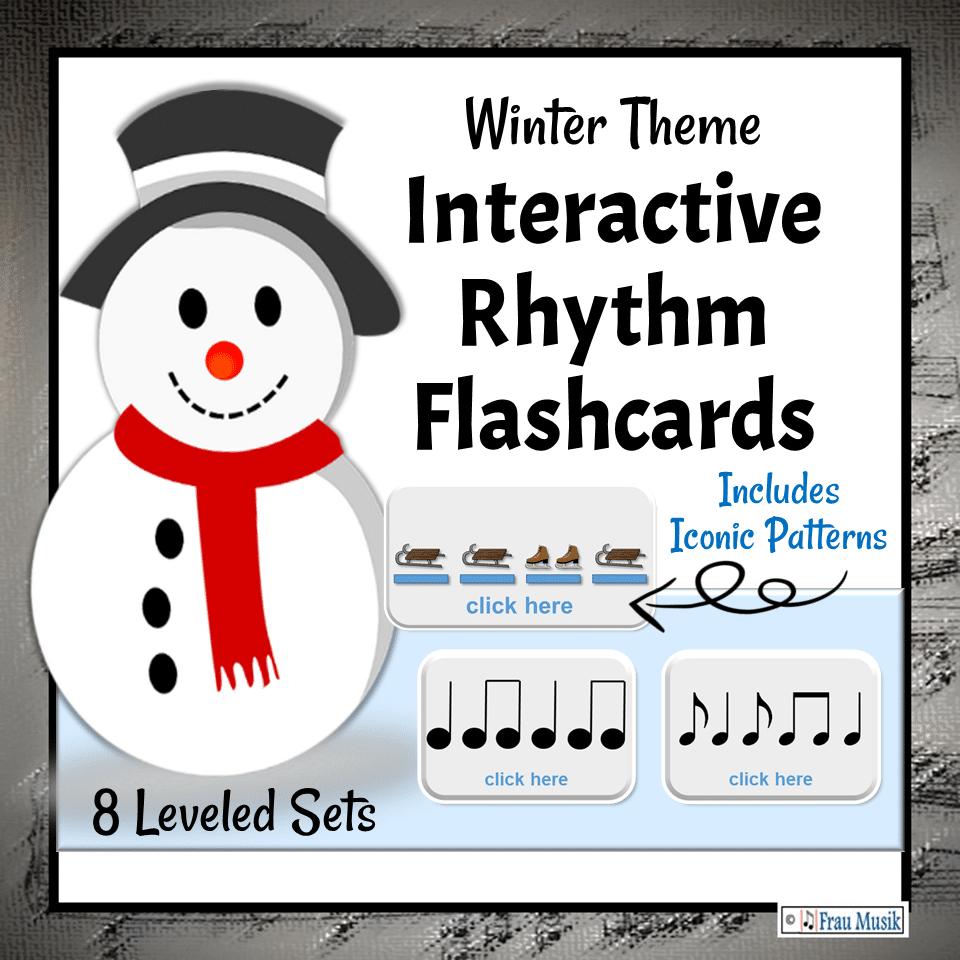 Winter Music Activities - Interactive DIGITAL Rhythm Pattern Flashcards for the Elementary Music Classroom