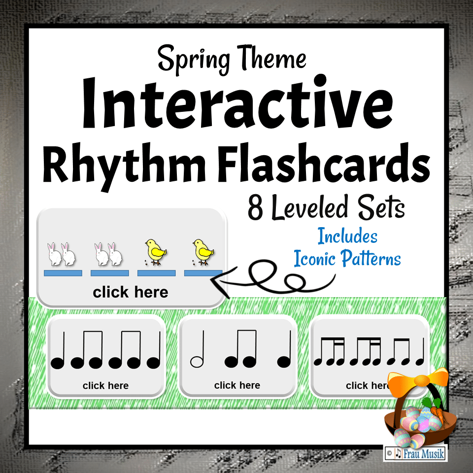 Spring Music Activities for the Elementary Music Classroom | Interactive DIGITAL Rhythm Pattern Flashcards