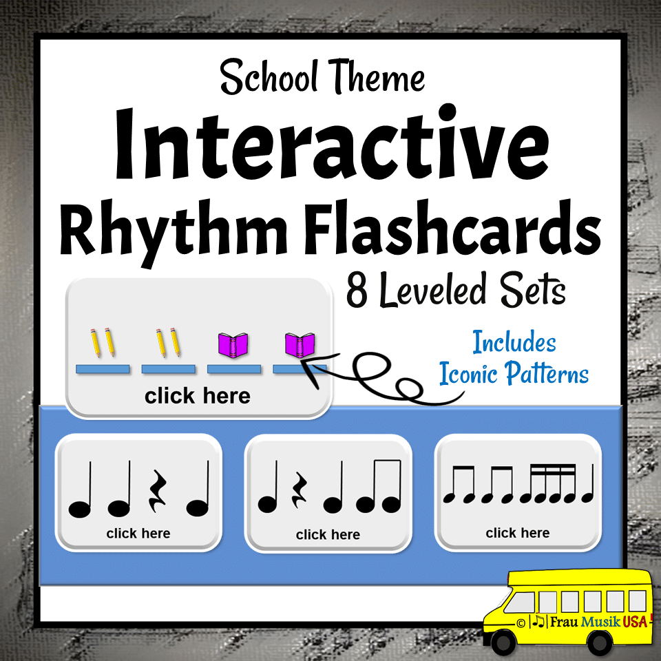 Interactive DIGITAL Rhythm Reading Cards for the Elementary Music Classroom | 8 Sequential Sets