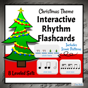 Christmas Music Activities - Interactive Rhythm Pattern Flashcards for the Elementary Music Classroom