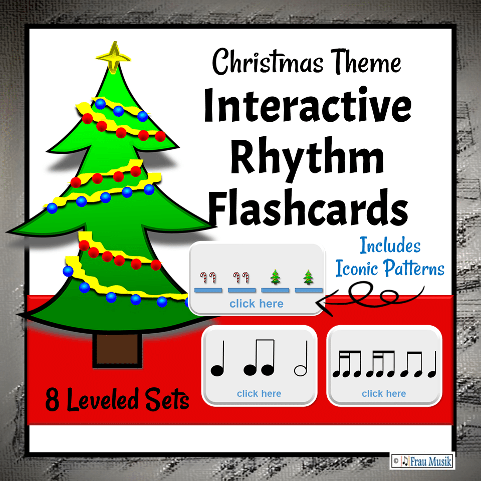 Christmas Music Activities - Interactive Rhythm Pattern DIGITAL Flashcards for the Elementary Music Classroom