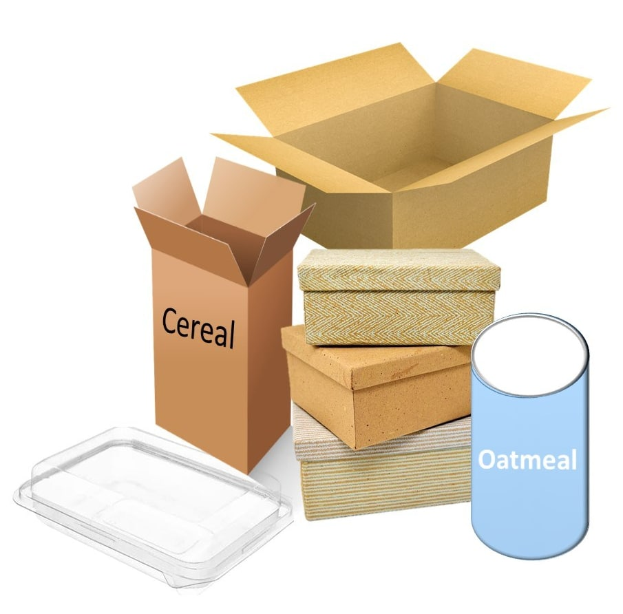 Cereal, oatmeal, and shoe boxes, & plastic container