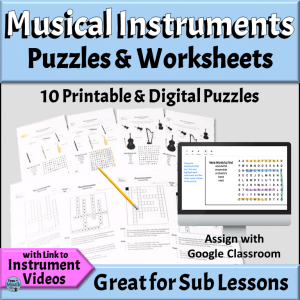 Instruments of the Orchestra Worksheets | Puzzles for Elementary Music Classroom