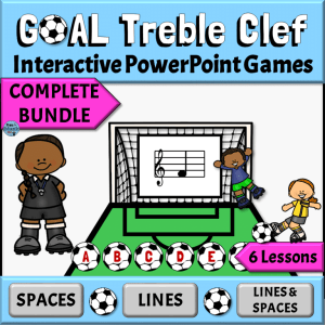 Treble Clef Interactive PowerPoint Games with Soccer Theme