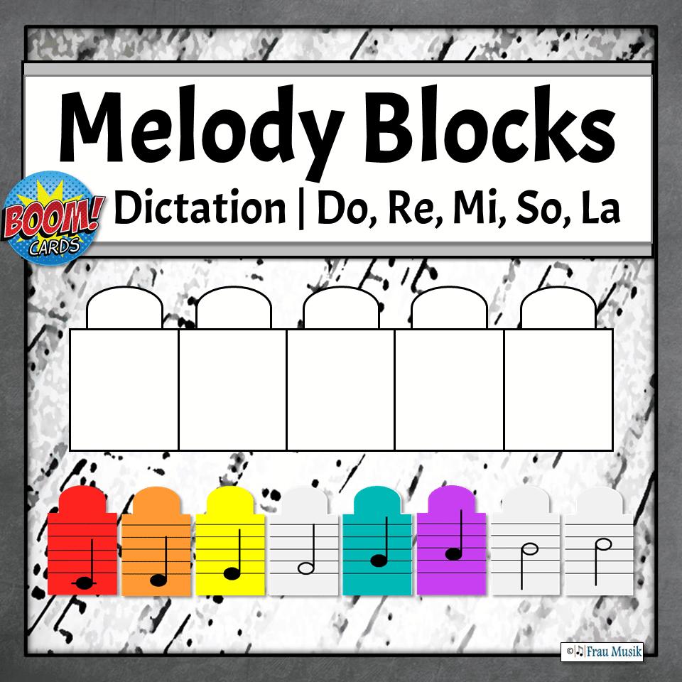 Melodic Dictation Blocks | Do, Re, Mi, So, La Boom Cards