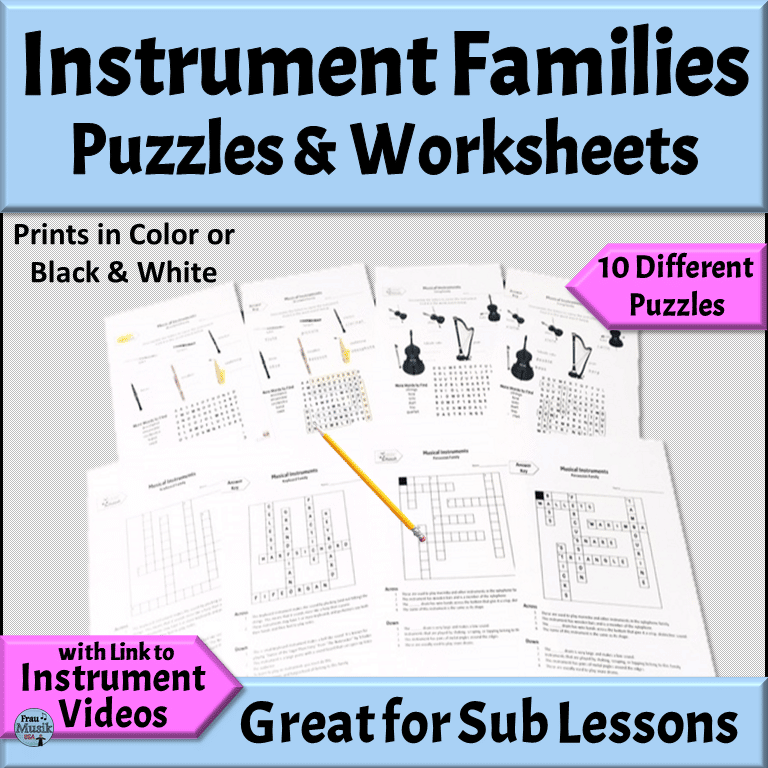 Musical Instrument Families Puzzles and Worksheets
