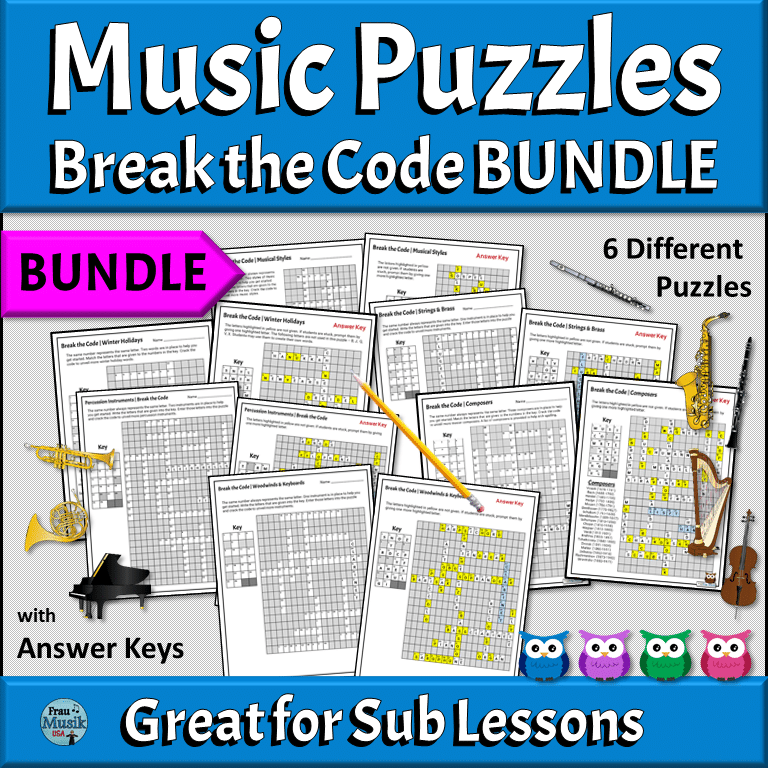 Printable Music Worksheets | Break the Code Puzzle BUNDLE