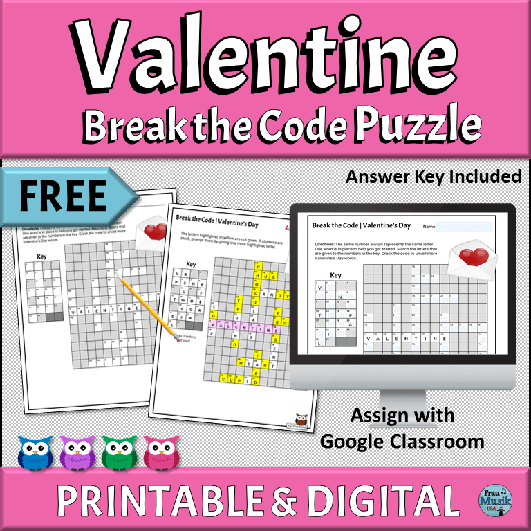 FREE PRINTABLE & DIGITAL ONLINE Valentine Break the Code Worksheet | Upper Elementary Grades