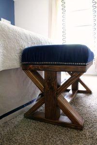 DIY 2x4 Upholstered Farmhouse Style Bench - frazzled JOY
