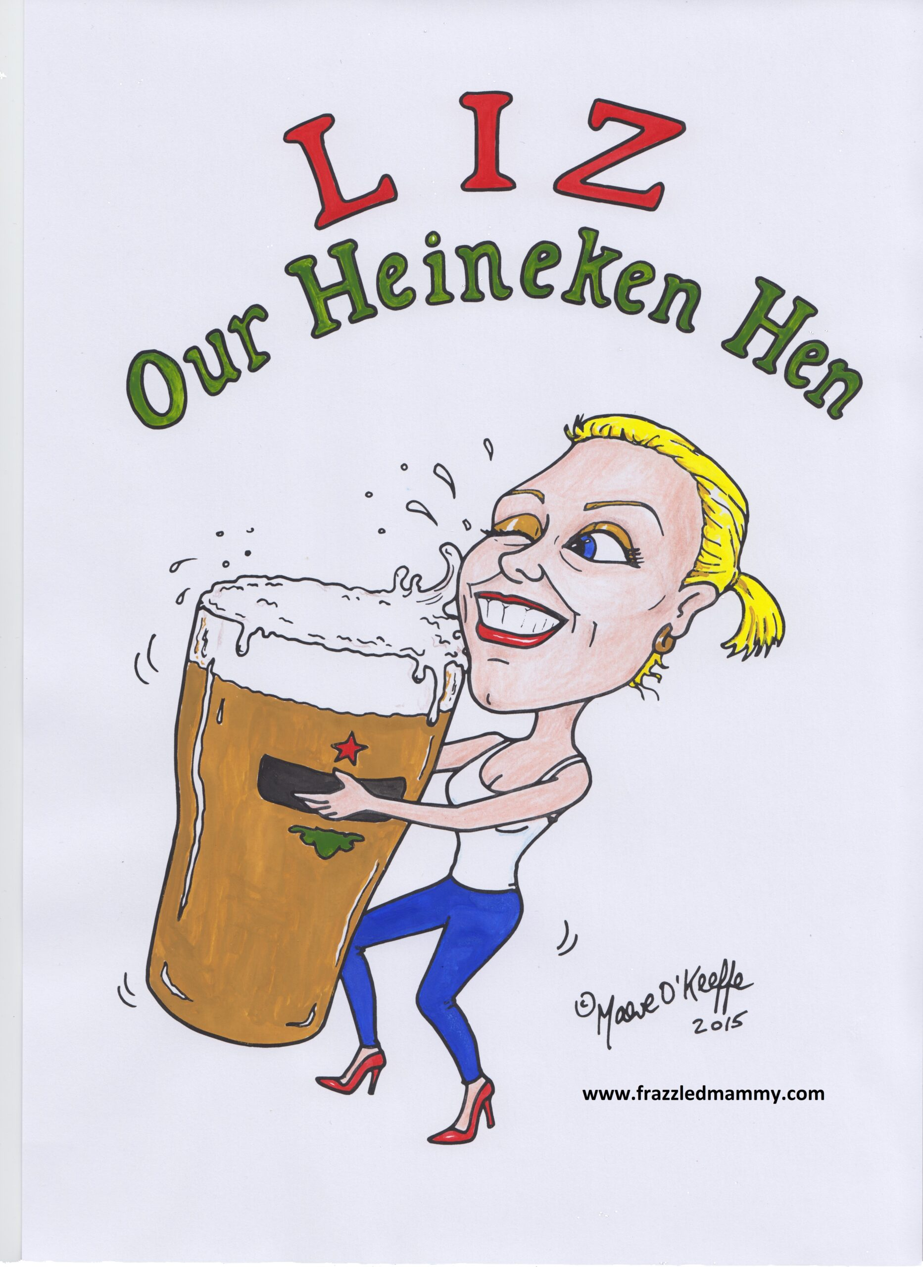 A caricature of Liz at a hen party.