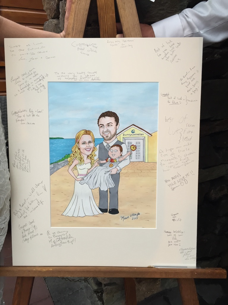 A caricature of Carol for her wedding.