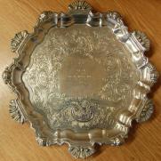 George III reeded circular waiter or salver on 3 bracket feet. Won by Richard Westbrook Baker at Rutland Show.