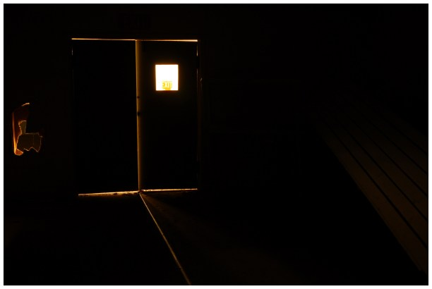 Minimalist photography in a dark room in an abandoned building