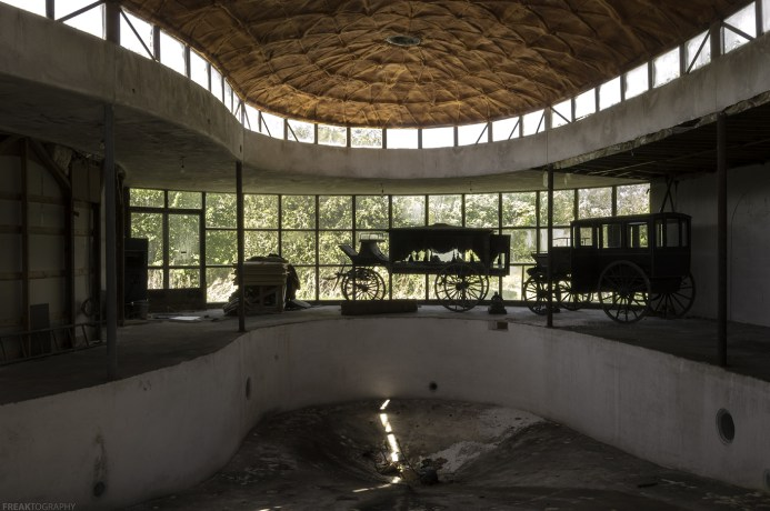 Inside the pool house in a very unique abandoned house.