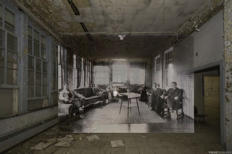 The mens sunroom in one of the wings of an abandoned insane asylum.