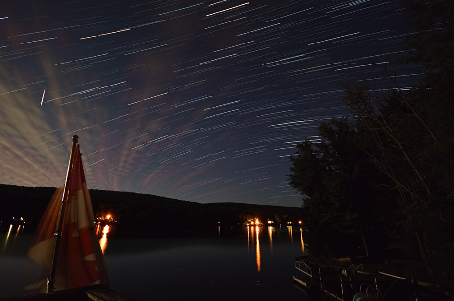 Star Trails over Rushford Lake