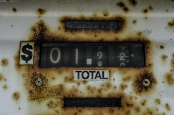 Online photography prints for purchase of a rusty gas pump