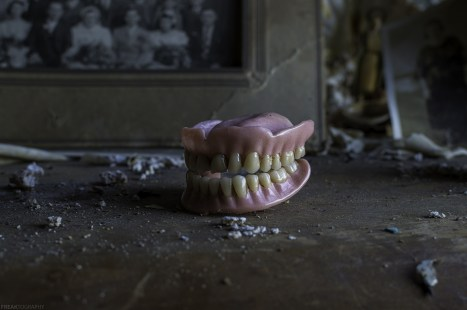A set of dentures found inside a bedroom of an abandoned ontario house