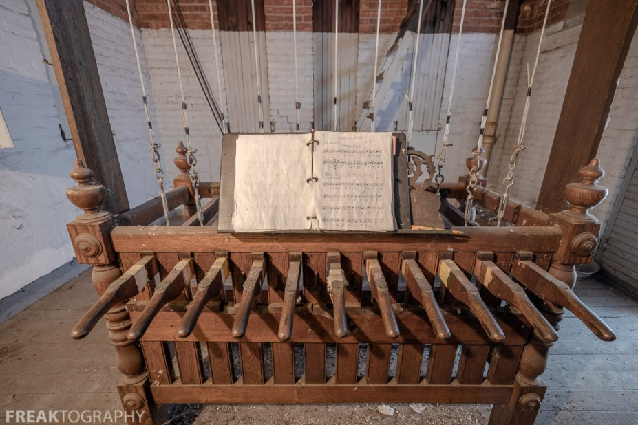 Urban Exploration photo of A carillon in the bell tower of an abandoned church in ontario canada