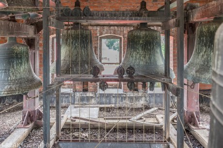 The belfry in the bell tower of the now abandoned St Giles church in Hamilton, Ontario