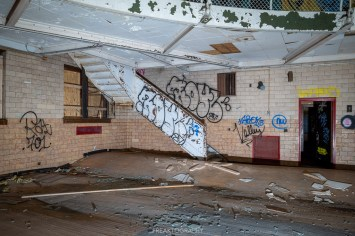 abandoned detroit cooley high school gym stairs